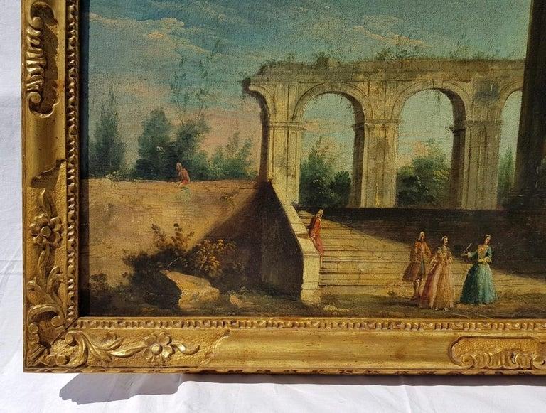 18th century Italian landscape painting, Architectural figures Oil canvas Venice - Brown Landscape Painting by Apollonio Domenichini