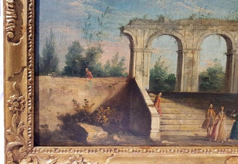 18th century Italian landscape painting, Architectural figures Oil canvas Venice For Sale 1