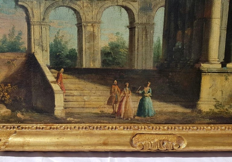 18th century Italian landscape painting, Architectural figures Oil canvas Venice For Sale 2