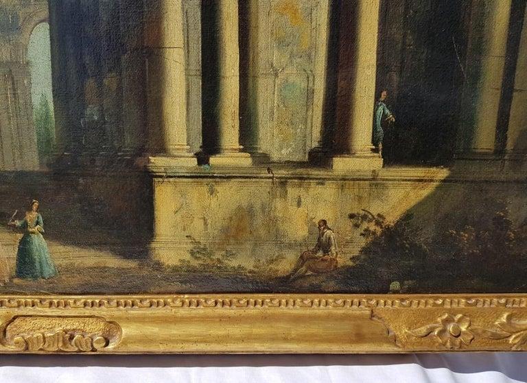 18th century Italian landscape painting, Architectural figures Oil canvas Venice For Sale 3