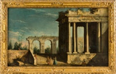 18th century Italian landscape painting, Architectural figures Oil canvas Venice