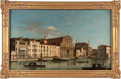 18th century Italian landscape painting - View Venice - Oil Canvas Italy Rococò
