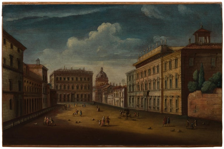 Master of Langmatt Foundation View of Rome Square of Holy Apostles   - Rococo Painting by Apollonio Domenichini