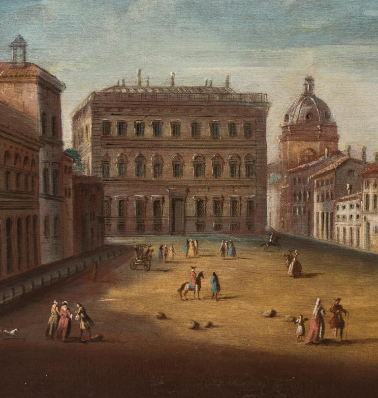 An important work by Apollonio Domenichini also knew as Master of the Langmatt Foundation, that represents the square of Holy Apostoles in Rome. The work made after a copper engraving by Giovanni Battista Falda made in 1665 shows the place in which