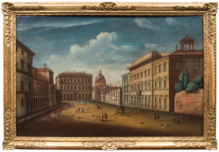 Apollonio Domenichini Landscape Painting - Master of Langmatt Foundation View of Rome Square of Holy Apostles