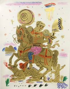Golden Hero, Hand-painted rider on a horse with gold leaf, work on paper