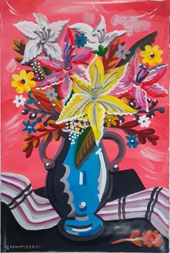 A Spring in Her, mixed media painting on paper, contemporary bright flowers