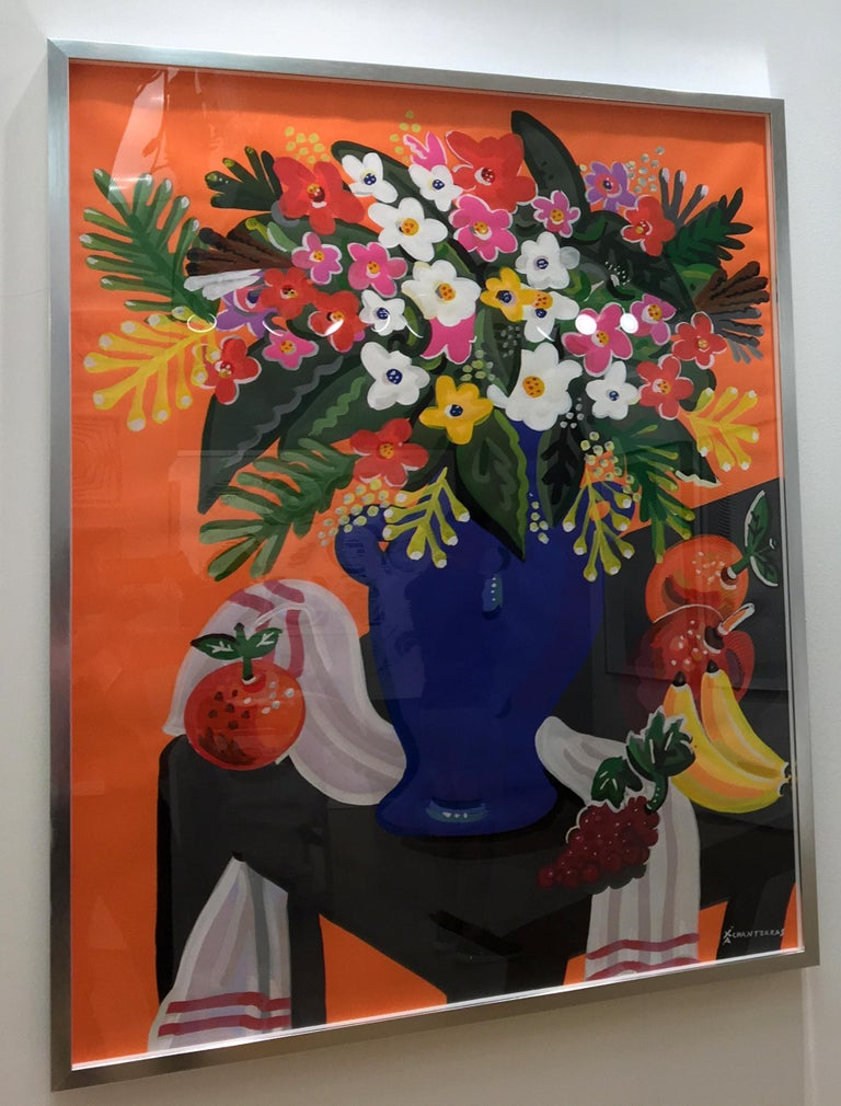 Bouquet - Pop art style and classical colorful still-life flower painting framed - Brown Still-Life Painting by Apostolos Chantzaras