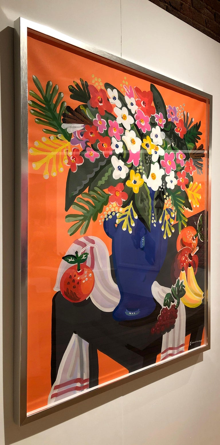 This painting on Fabriano paper, titled Bouquet with Orange Background is one of Chantzaras latest series of pop art style and classical colorful influences of this still-life flower painting. The colors are bold and playful.   The silver wood box