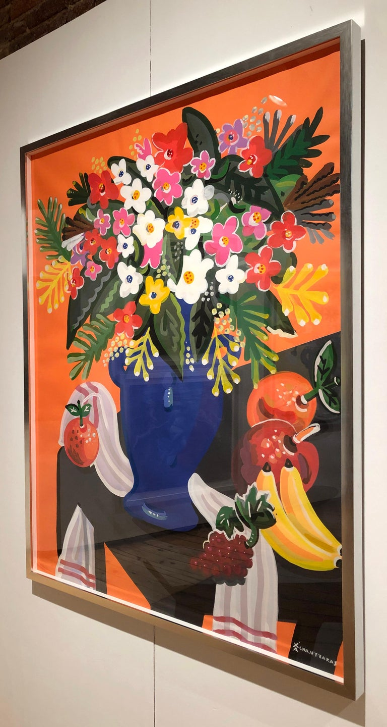 Bouquet - Pop art style and classical colorful still-life flower painting framed - Painting by Apostolos Chantzaras