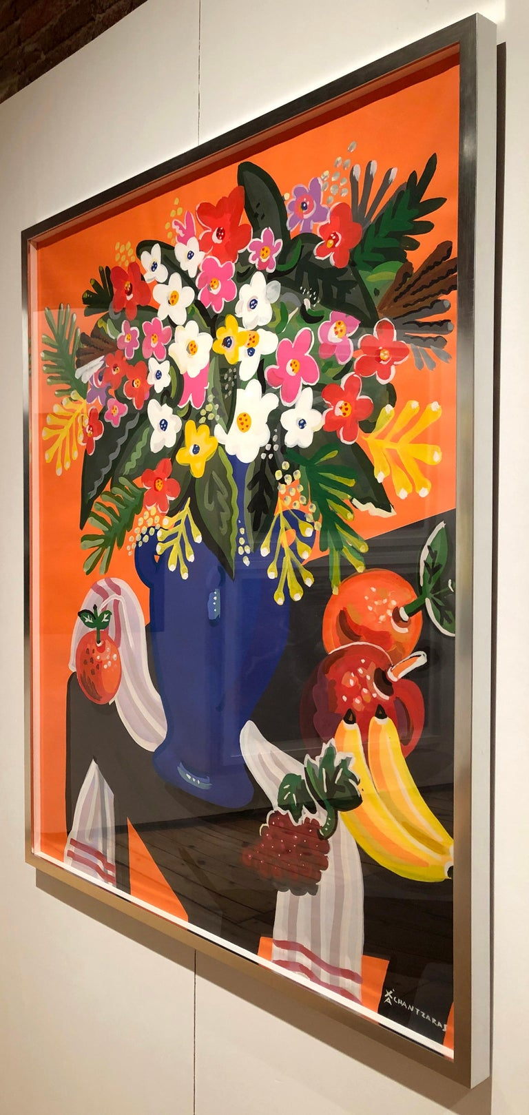Bouquet - Pop art style and classical colorful still-life flower painting framed For Sale 1