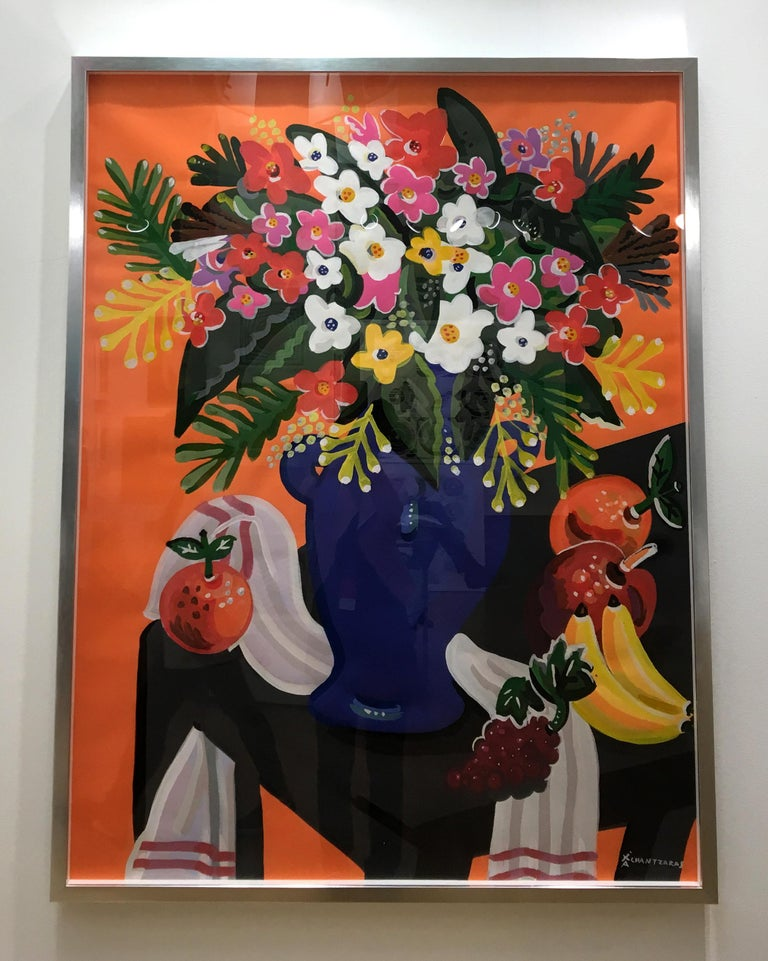 Bouquet - Pop art style and classical colorful still-life flower painting framed For Sale 2