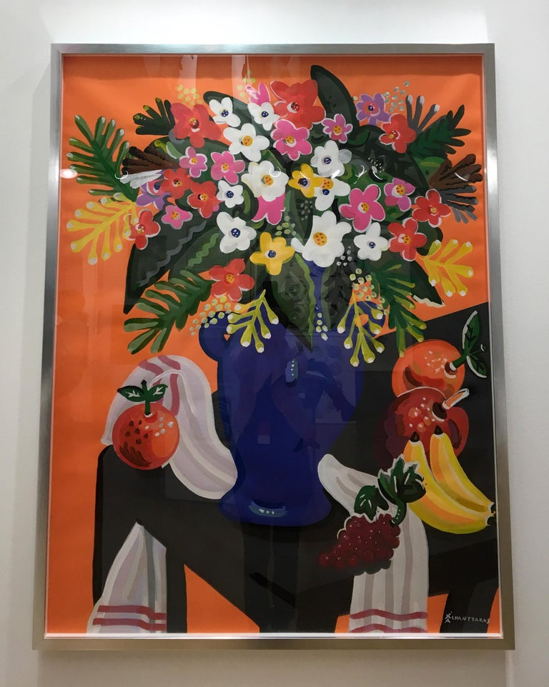 Apostolos Chantzaras Still-Life Painting - Bouquet - Pop art style and classical colorful still-life flower painting framed