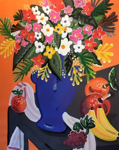 Bouquet - Pop art style and classical colorful still-life flower painting framed