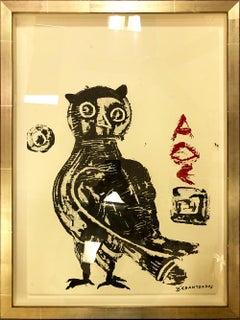 Democritus, The Wise Guys, Owl #3 series, Pop contemporary blue bird painting