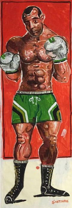 Dorieus, Lifesize Boxer Painting, Oil and acrylic on paper, custom wood framed