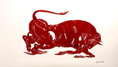 El Toro, Mythological animal, strong red bull painting on paper