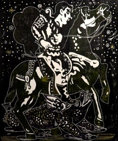 Exploring a Starlit Night, Mythological character painting, elegant contemporary
