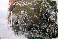 Green and Gold Rooster painting, contemporary painting custom golden box frame
