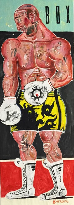 Kleomedes, Life Size Boxer Painting, Bright Colours, Oil on paper