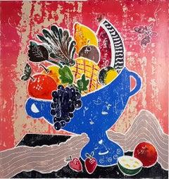 Mediterranean Abundance, mixed media painting on paper, contemporary still life
