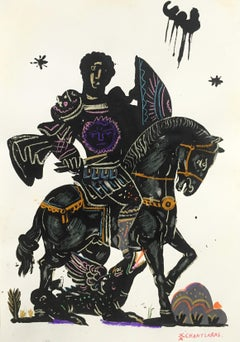 Noble Rider, oil paint on paper, gold and blue contemporary silver frame