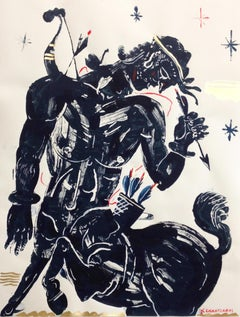 Pholus Centaur, Mythological Male Figure, black, red and gold painting on paper