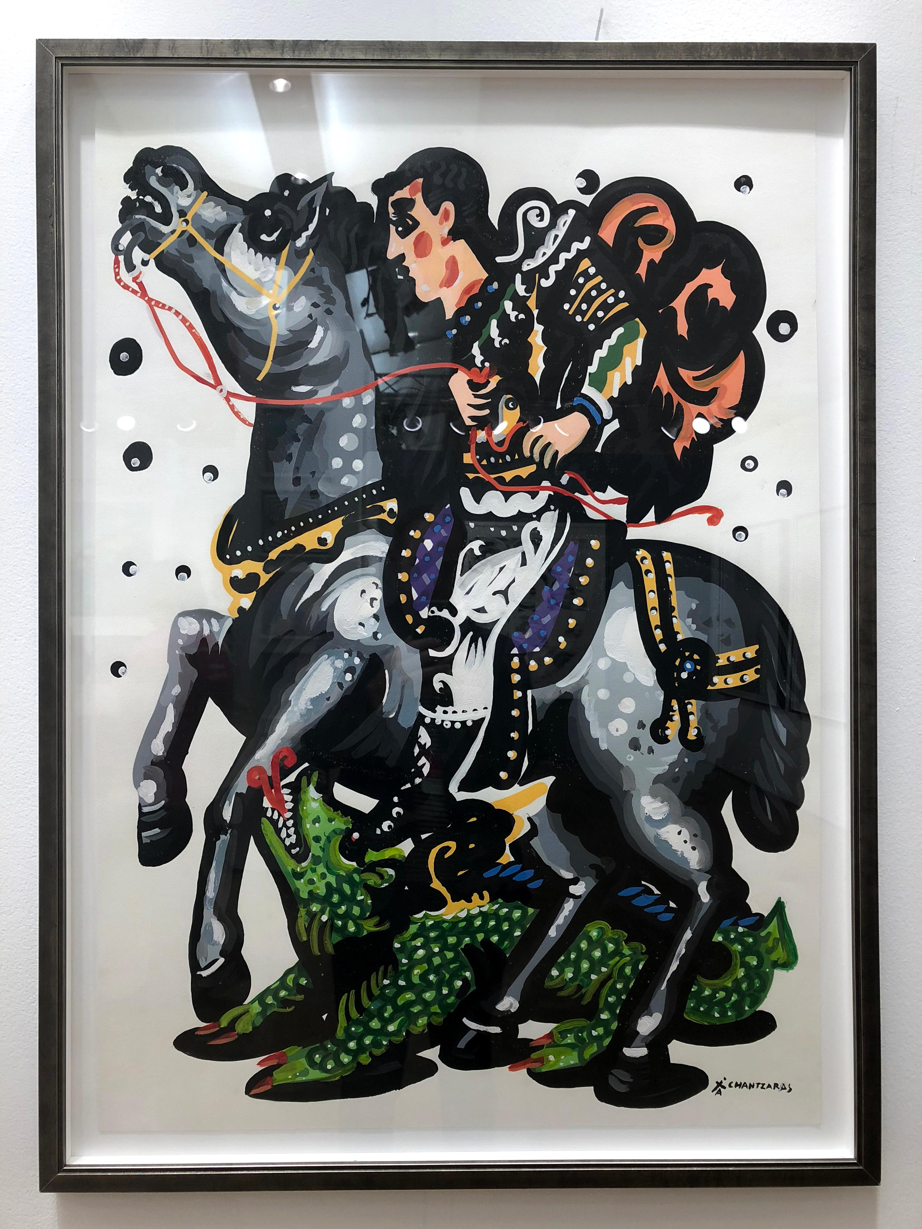 Rider And The Green Dragon Pop Art Contemporary Style Classical Bold Painting