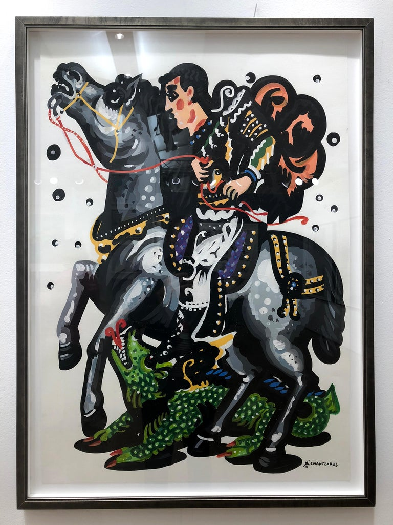 Apostolos Chantzaras Figurative Painting - Rider and the Green Dragon-Pop art contemporary style classical bold painting
