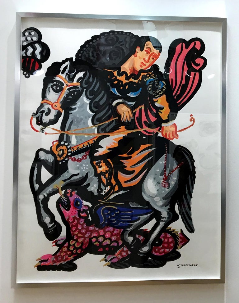 Apostolos Chantzaras Figurative Painting - Rider and the Pink Dragon-Popart contemporary style-classical bold painting