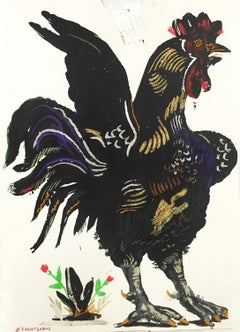 Rooster Over Grass, by Apostolos Chantzaras, painting on paper