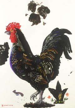 Rooster Posing, by Apostolos Chantzaras, unframed painting on paper