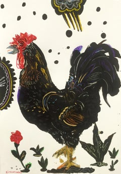 Rooster Under Cloud, by Apostolos Chantzaras, framed Oil on Fabriano paper