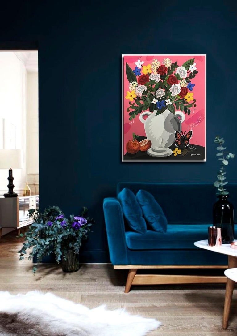 Roses For You - Pop art style-classical colorful still-life flower, box framed - Painting by Apostolos Chantzaras