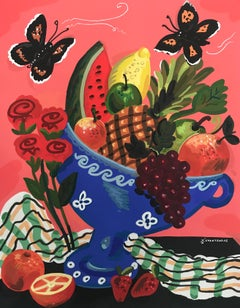 Summer Cornucopia - Pop art style-classical colorful still-life flower painting