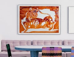 Sunset in Motion, mixed media painting on paper, contemporary bright colour bull