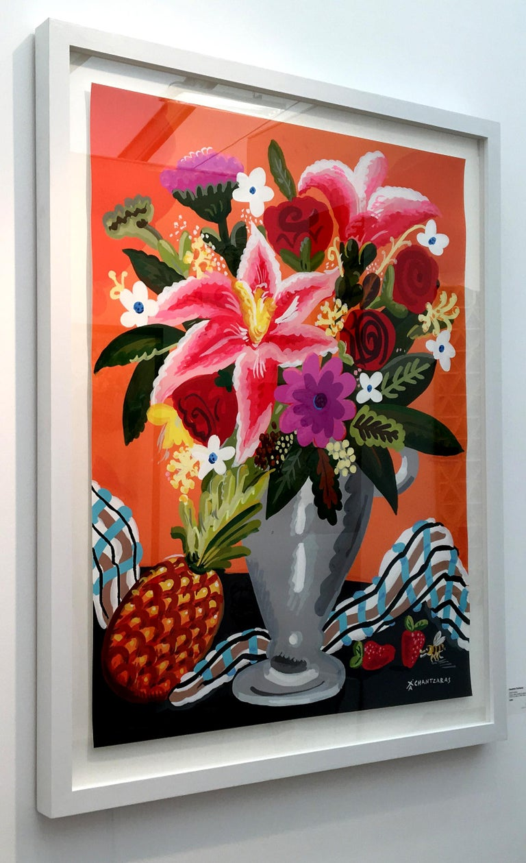 Sweet Anana - Pop art style and classical colorful still-life flower painting - Painting by Apostolos Chantzaras