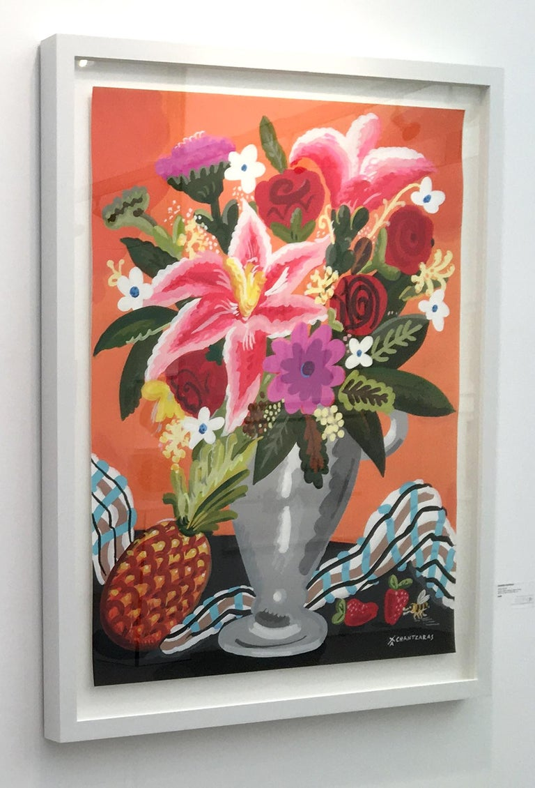Sweet Anana - Pop art style and classical colorful still-life flower painting - Contemporary Painting by Apostolos Chantzaras