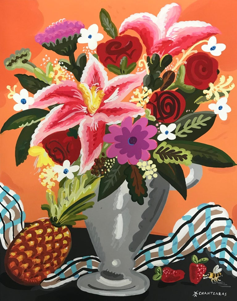 Apostolos Chantzaras Still-Life Painting - Sweet Anana - Pop art style and classical colorful still-life flower painting