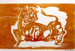 Taurus, Mythological animal, strong yellow bull, monochromatic painting on paper
