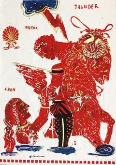 Thunder, painting on paper with Greek Mythological Ram, acrylic and gold leaf