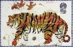 Tiger in Sunrise, Ancient Inspired painting on paper with acrylic and gold leaf