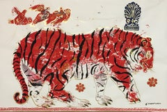 Tiger in Sunset, Ancient inspired painting on paper with acrylic and gold leaf