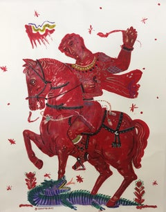 Victory and Romance, Mythological painting on paper with Red Rider and Horse
