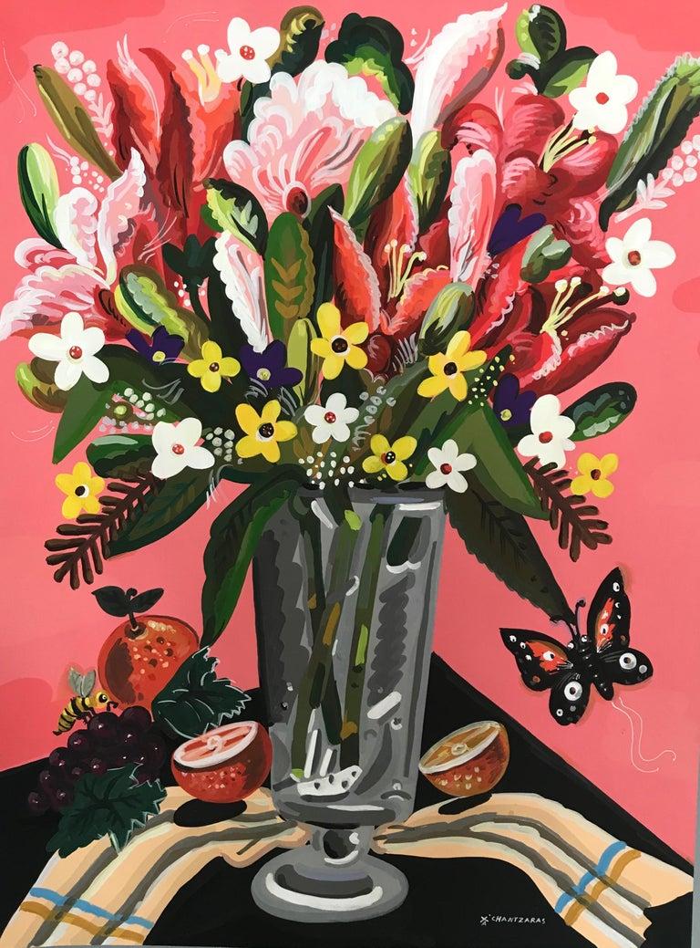 World of Abundance - Pop art style-classical colorful still-life flower painting - Painting by Apostolos Chantzaras