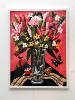 World of Abundance - Pop art style-classical colorful still-life flower painting