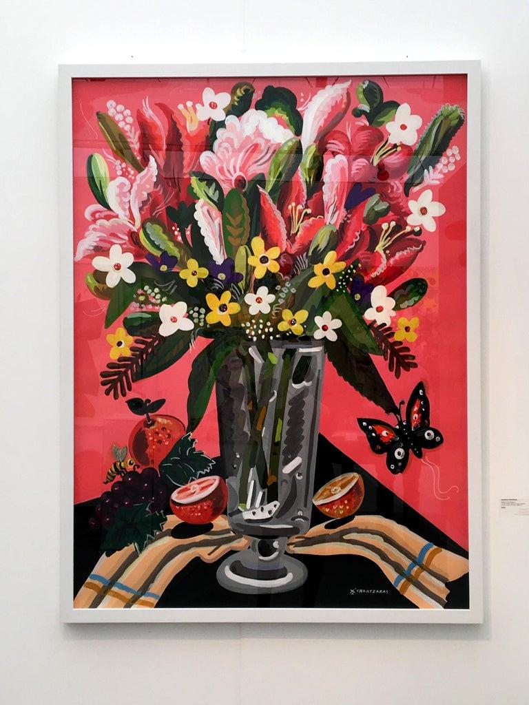Apostolos Chantzaras Still-Life Painting - World of Abundance - Pop art style-classical colorful still-life flower painting