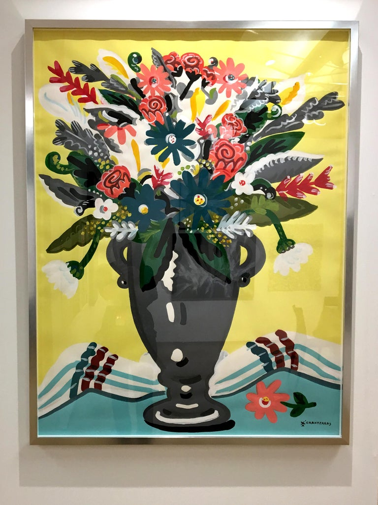 Apostolos Chantzaras Still-Life Painting - Zest of Spring - Pop art style and classical colorful still-life flower painting