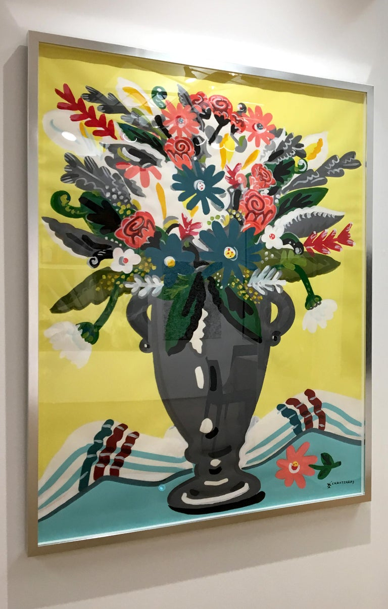 Zest of Spring - Pop art style and classical colorful still-life flower painting - Contemporary Painting by Apostolos Chantzaras