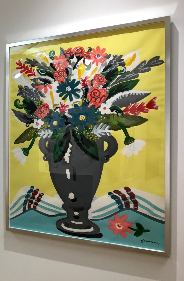 This painting on Fabriano paper, titled Zest of Spring is one of Chantzaras latest series of pop art style and classical colorful influences of this still-life flower painting. The colors are bold and playful.   The silver wood box frame